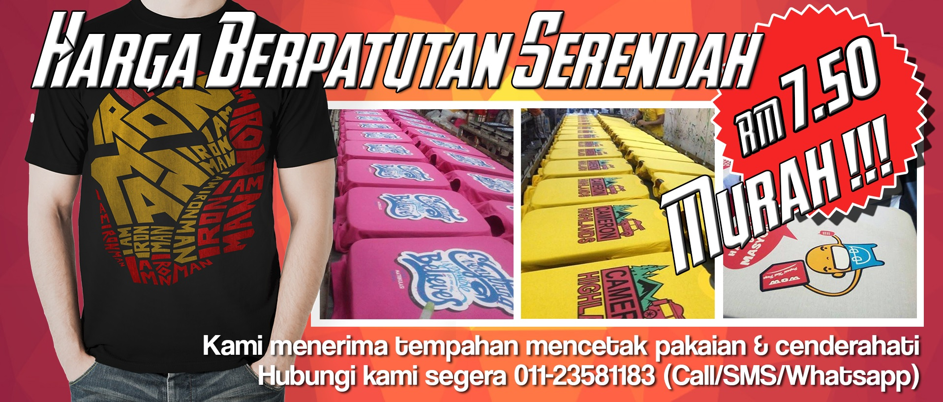T shirt printing cetak baju berkualiti printing baju murah for T shirt printing local area